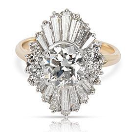 IGI Cert Vintage Ballerina Diamond Engagement Ring in 14KT Gold J VS2 2.94 CTW