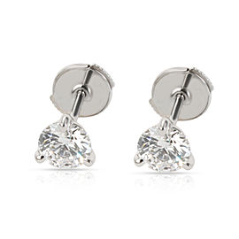 GIA Certified 3 Prong Martini Diamond Stud Earrings in 14K White Gold 0.96 CTW