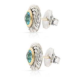 David Yurman Cable Blue Topaz Cookie Stud Earring in18K Gold/Sterling Silver