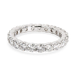 Shared Prong Round Cut Diamond Eternity Band in 18K White Gold 2.00 CTW