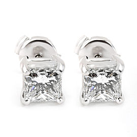 Blue Nile Princess Cut Diamond Stud Earring in Platinum GIA E VVS1 1.88 CTW