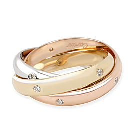 Cartier Trinity Diamond Fashion Ring in 18K 3 Tone Gold 0.18 CTW
