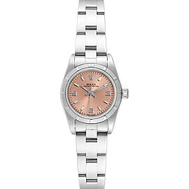Rolex Oyster Perpetual Salmon Dial Steel Ladies Watch 76030 Box