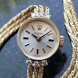 Rolex Ladies 14kt Gold Cocktail Diamond Dress Watch, c.1950s Vintage Swiss MA154