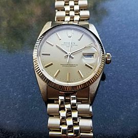 ROLEX Men's 14k Solid Gold Oyster Date 1503 Automatic c.1979 Swiss Vintage LV802