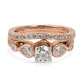 GIA Certified Shane & Co Diamond Bridal Set in 18K Rose Gold G SI2 1.20 CTW