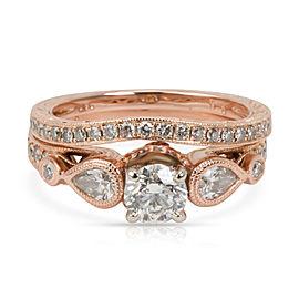 GIA Certified Shane & Co Diamond Bridal Set in 18K Rose Gold G SI2 1.20 CTW