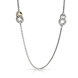 David Yurman Belmont 4 Station Necklace in 18K Yellow Gold/Sterling Silver