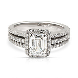 GIA Certified Emerald Halo Diamond Engagement Ring in Platinum G SI1 1.57 CTW