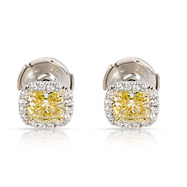 Tiffany & Co. Soleste Fancy Yellow Diamond Halo Earrings 18K White Gold 1.16 CTW