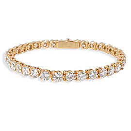 Cartier 3 Prong Diamond Tennis Bracelet in 18K Yellow Gold 9.55 Carats