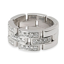 Cartier Maillon Panthere Half Diamond Pave Ring in 18K White Gold (0.53 CTW)