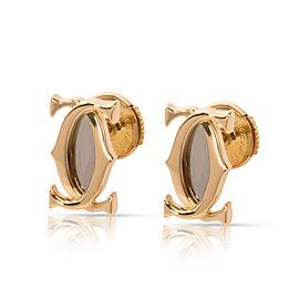 Cartier Double C Logo Earrings in 18K Yellow Gold