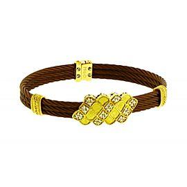 Philippe Charriol diamond bangle in 18K yellow gold & Bronze steel.