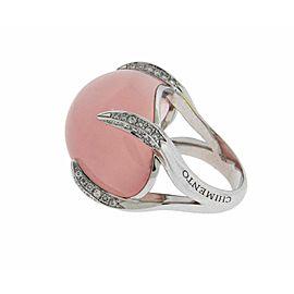 Chimento Elsir pave diamond & rose quartz ring in 18k white gold size 6.5