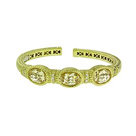 Judith Ripka Diamond & Canary Crystal hinged bangle in 18K yellow gold Size smal