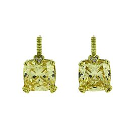Judith Ripka Diamond & Canary Crystal earrings in 18K yellow gold