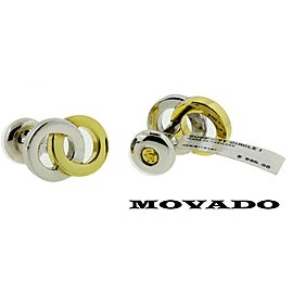 Movado Cufflinks in 18k yellow gold & silver new with tag.