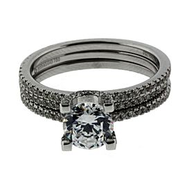 Hidalgo # 1-26 .44ct diamond Wedding set in 18K White gold fits 1ct Round or Squ