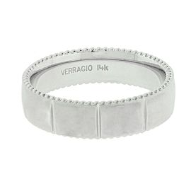 Verragio MV-6N10 Men's wedding band in 14k white gold.