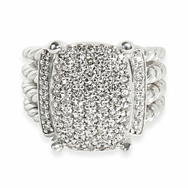 David Yurman Wheaton Collection Diamond Ring in Sterling Silver 1.12 CTW