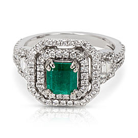BRAND NEW Halo Diamond Emerald Ring in 18KT White Gold 2.07 ctw