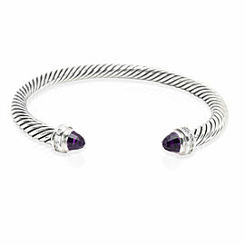 David Yurman Cable Classics Diamond & Amethyst Bangle in Sterling Silver 0.08CTW