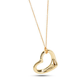 "Tiffany Elsa Peretti 26mm Open Heart 18kt Yellow Gold Pendant (24"" Rose Chain)"