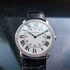 CARTIER 18k White Gold Men's Ronde Diamond Dress Watch, c.2010s Swiss Lux LV883