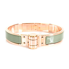 Hermes Narrow Sea Foam Green Hinged Bangle in Rose Gold Plated Stainless Steel