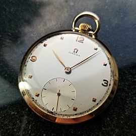 OMEGA Solid 14k Gold Open Face Pocketwatch 44mm, c.1947 Swiss Vintage LV948