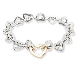 Tiffany & Co. Linked Open Hearts Bracelet in 18K Yellow Gold & Sterling Silver