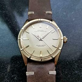ROLEX Men's 14k Gold Oyster perpetual 6569 Automatic, c.1959 Swiss Vintage LV922