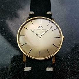 JAEGER LECOULTRE Vintage Men's 18K Gold Hand-Wind Dress Watch, c.1960s LV848BLK