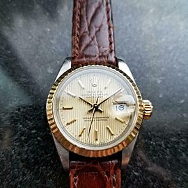 ROLEX Ladies 18k Gold & ss Datejust 69173 Automatic c.1989 Swiss Luxury LV975BRN