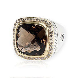 David Yurman Albion Smokey Topaz & Diamond Ring in 18K Gold & Silver 0.44CTW