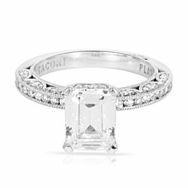 Tacori Diamond Emerald Cut Engagement Ring Setting in Platinum (0.41 CTW)