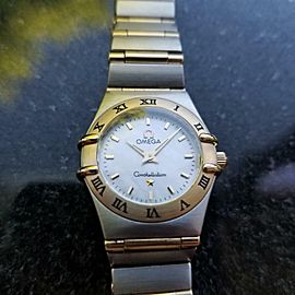 OMEGA Ladies Constellation 14K & SS MOP Dial Watch, c.1990s Swiss Dress MA80