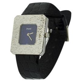 Piaget Classique 18K White & Leather Lapis 25mm x 27mm Watch