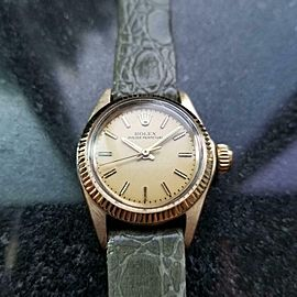 ROLEX 14K Gold Ladies Oyster Perpetual ref.6719 Automatic c.1973 Swiss MS148GRY