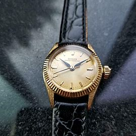 ROLEX Ladies 18K Gold Oyster Perpetual ref.6618 Automatic c.1963 Luxury MS146BLK