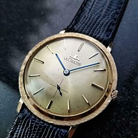 LECOULTRE Men's 14K Gold Manual Hand-Wind Dress Watch, c.1960s Swiss MS221BLU