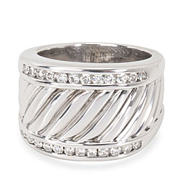 David Yurman Wide Cable Diamond Men's Band in Sterling Silver (0.25 CTW)