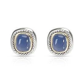 David Yurman Chalcedony Earrings in Sterling SIlver & Gold