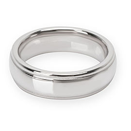 Double Milgrain Plain Wedding Band in 18K White Gold