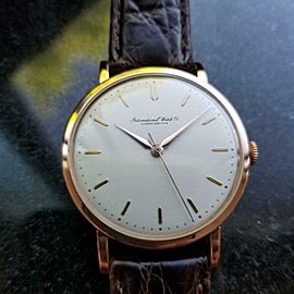 IWC Men's 18K Rose Gold Manual Hand-Wind Dress Watch c.1950s Vintage Swiss LV338