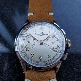 Men's Baume & Mercier Vintage Chronograph Manual Hand Wind c.1950s Swiss MA30TAN
