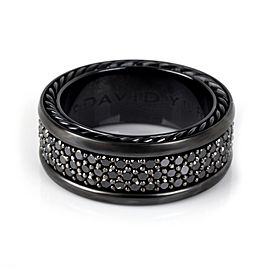 David Yurman Streamline Black Diamond Band in Sterling Silver & Titanium 2.45CTW