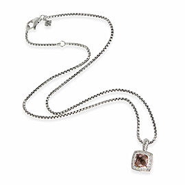 David Yurman Albion Morganite Diamond Necklace in Sterling Silver 0.17 CTW