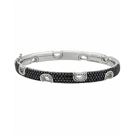 Damiani D Icon 18k gold black & white pave diamond bangle bracelet size M